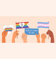 set diverse hands waving equality signs vector image