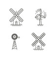 set icons or symbols renewable energy windmill vector image
