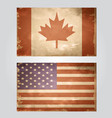 set of grunge flags usa and canada vector image