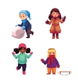 Set of kids enjoying winter season vector image vector image