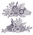 set two beautiful fantasy bouquets with hand vector image vector image