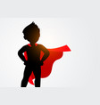 silhouette kid in superhero costume vector image vector image