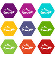 sneakers for tennis icon set color hexahedron vector image vector image