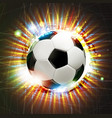 soccer ball with fireworks vector image