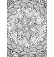 vertical coloring book with linear floral pattern vector image vector image