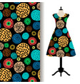 womens dress fabric pattern with dots vector image vector image
