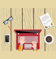 businessman using a laptop vector image