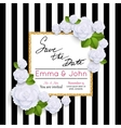 Save the date cards with paper flowers and gold vector image
