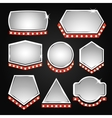 Silver banners frame with lights vector image