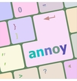 annoy button on the computer keyboard key vector image vector image