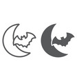 bat and moon line and glyph icon halloween and vector image vector image