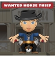 Cartoon character in Wild West - horse thief vector image vector image