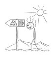 cartoon of man walking thirsty through desert and vector image vector image