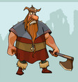 cartoon sad viking in a horned helmet with an ax vector image