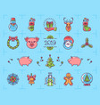 christmas icons set zodiac year pig 2019 vector image vector image