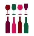 colorful wine bottle and glass set vector image vector image