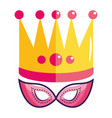 crown and party mask symbol vector image