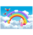 Cupid in the clouds background vector image vector image