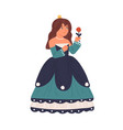 cute fairytale princess holding rose isolated vector image vector image