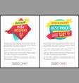 exclusive offer flat labels landing page vector image vector image