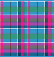 Fabric textile blue pink green check plaid vector image