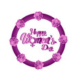 floral ornamented label happy women day vector image