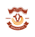 fresh beef bacon spaghetti logo with cow vector image vector image