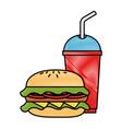 hamburger with soda icon vector image vector image