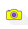 icon photo camera in cartoon style with shadow on vector image vector image