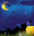 Jack o Lantern on a night Cemetery vector image vector image