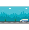 Landscape of delivery truck with city backgrounds vector image vector image
