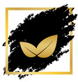 leaf sign golden icon at vector image
