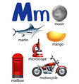 Letter M for moon marlin mango microscope mailbox vector image vector image