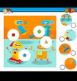 match pieces puzzle with robot characters vector image