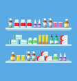 medical tablets pills medical bottles on shelves vector image vector image