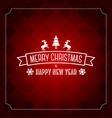 Merry Christmas greeting card template- red patten vector image vector image