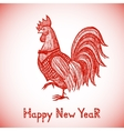 New Year greeting card with Red Rooster vector image vector image