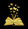 open textbook with gold butterfly vector image vector image