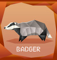 origami grey badger vector image