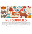 pet supplies banner template with dog and cat care vector image vector image