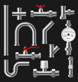 pipes and pipeline tubes plumbing or water supply vector image