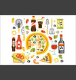 pizza preparation set of utensils vector image vector image