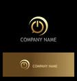 power button gold logo vector image