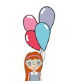 pretty girl with hairstyle and balloons vector image vector image