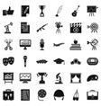 raising career icons set simple style vector image vector image