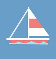 sailboat with blue wave and isolated background vector image vector image