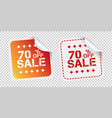 sale stickers 70 percent off on isolated vector image