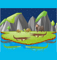scene with crocodiles and other animals on island vector image vector image