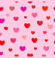 seamless pattern of red hearts on pink vector image vector image