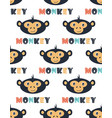 seamless pattern with funny head monkey vector image